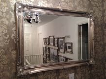 LARGE Antique Silver Elegant Wall Mirror - FREE UK POSTAGE - Bevelled Mirror